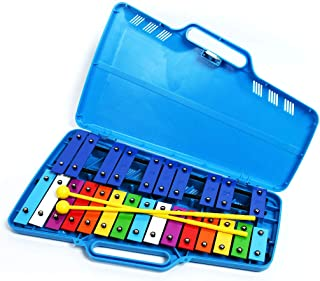 Professional Plastic Blue Glockenspiel Xylophone with 25 Metal Keys for Adults & Kids - Includes 2 Plastic Beaters