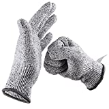 HYCKee Medium Cut Resistant Gloves -Food Grade Level 5 Protection, Safety Kitchen Cuts Gloves for Meat Cutting and Wood Carving, 1 Pair
