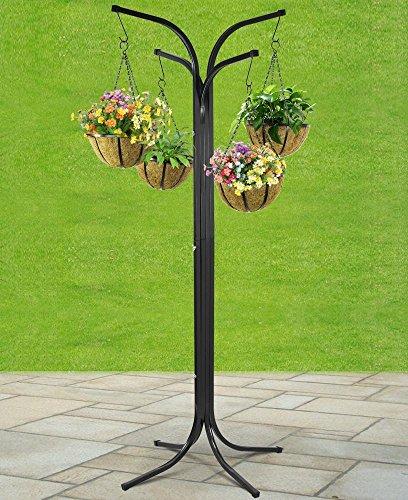 Popamazing–4 cestini per appendere vasi di fiori con struttura ad albero, per patio e giardino
