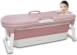 """Vrijstaande badkuip voor volwassenen, opvouwbare badkuip huishoudelijke badkuip, constante temperatuur met deksel roze 54"""""""