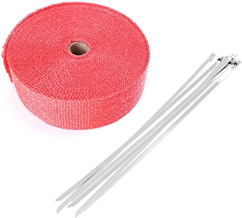 """lowest Mallofusa 2"""" online x 50'/15M Red Exhaust Heat Wrap Roll for Motorcycle new arrival Fiberglass Heat Shield Tape with 5 Stainless Zip Ties outlet sale"""