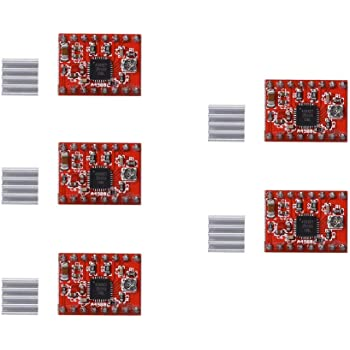 REES52 5Pcs A4988 Stepper Motor Driver Controller Ramps 1.4 Compatible Stepstick Motor Driver Module with Heat Sink for 3D Printer Green (A4988 red)