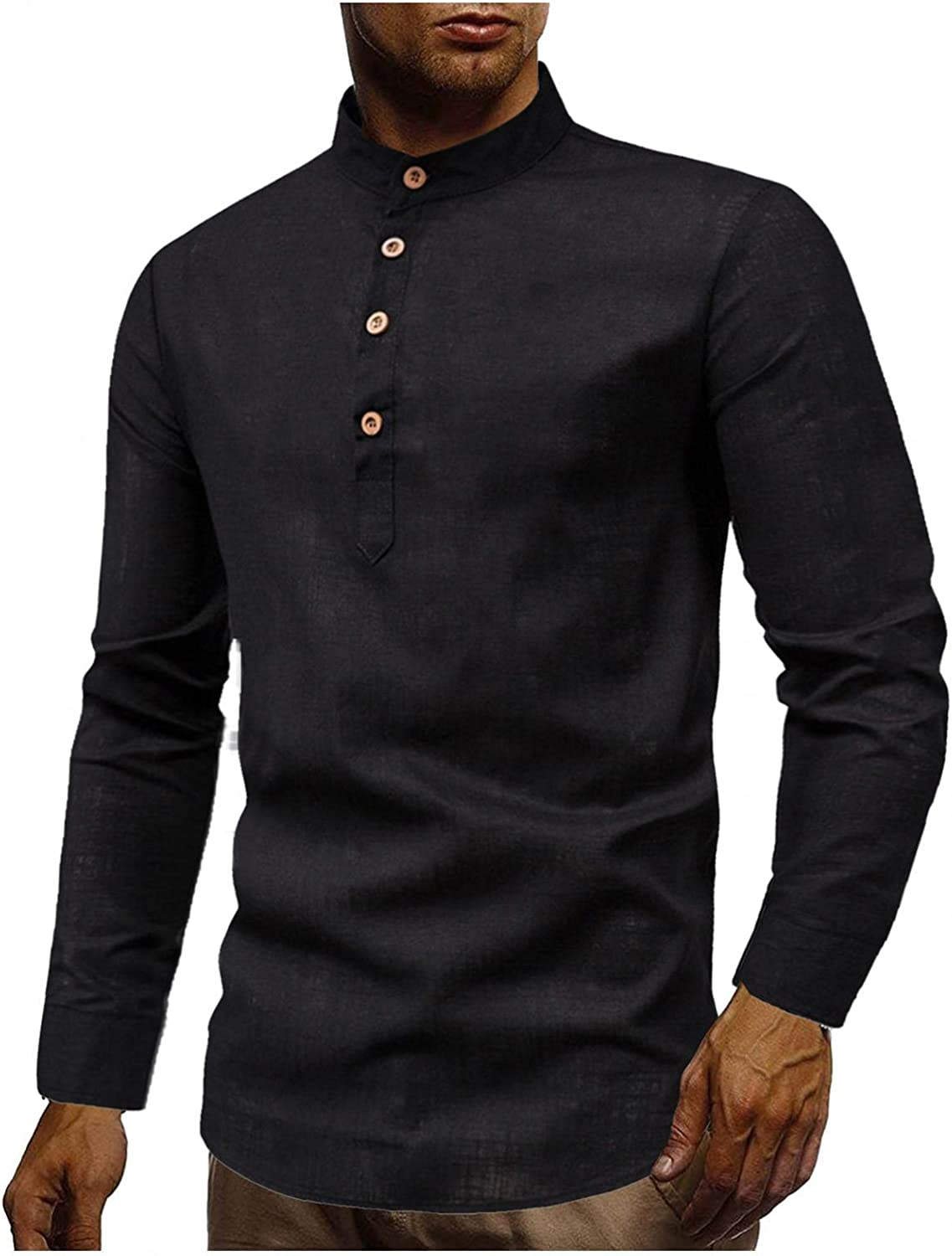 Mens Cotton Linen Henley Shirts Plus Size Long Sleeve Hippie Casual Beach T Shirts Fashion Yoga Loose Fit Henley Tops
