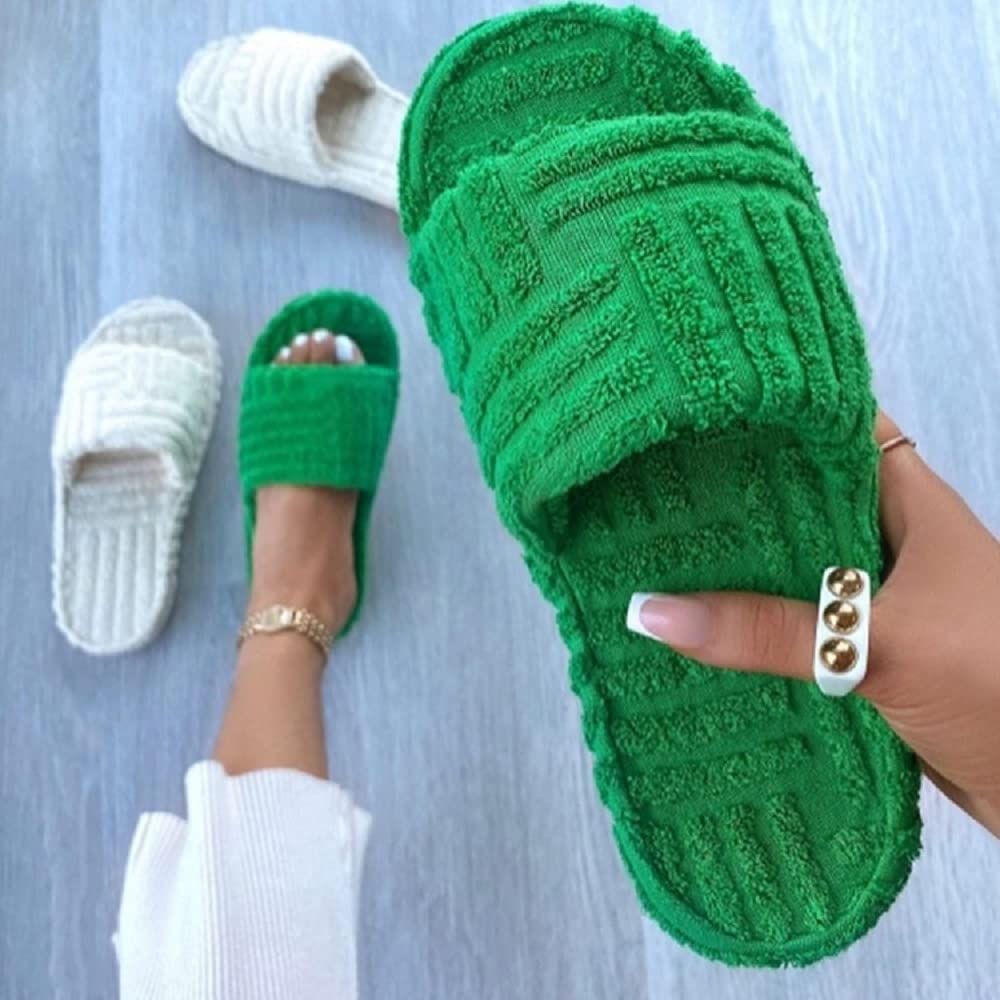 Max 86% Fees free!! OFF Lcqiyuea Womens Terry Towelling Slider Memory Sil Foam Slippers