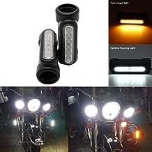 SOYAVISION Pair Motorcycle Highway Bar Switchback Driving Lights DRL Turn Signal White Amber LED Lamp for Harley Davidson Touring Bikes Crash Bars (Black)