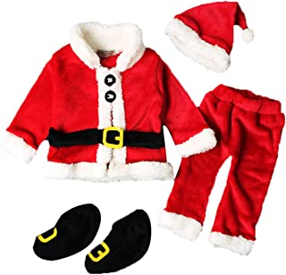 Baby Boys Girls Christmas Santa Claus Costume Set, Family Photography Props Xmas Cosplay Costume Outfit Pajama Clothes Set with Christmas Hat