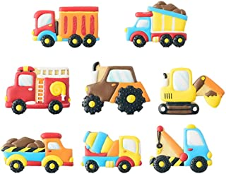 Transportation/Vehicles Cookie Cutters with Matching Cookie Stencils -Set of 16-8Pcs Cookie Cutter and 8Pcs Stencils, Include Truck, Tractor, Fire Engine, Excavator, Crane, Cement Mixer etc
