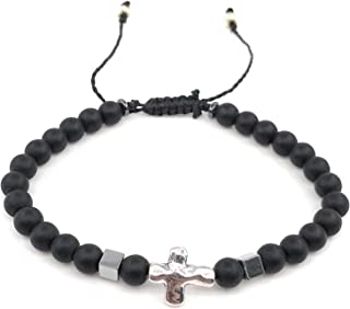 Cross Bracelet for Men Black Beads Adjustable Pulsera para Hombre