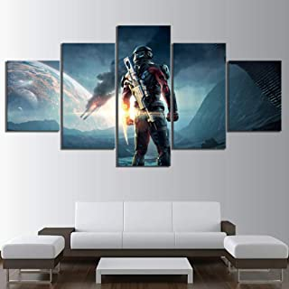Alasijia 5 Piece Fantasy Art Paintings Mass Effect Andromeda Video Game Posters Canvas Art Wall Paintings for Home Decor-10CMx15/20/25CM
