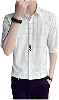 MogogN Men's Splicing Turn-Down Collar 3/4 Sleeve Plaid Fashion Business Shirts
