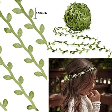 MMkiss 65 Ft Artificial Vines,Artificial Eucalyptus Leaf Garland Fake Hanging Plants Leaves DIY Wreath Foliage Green Leaves R