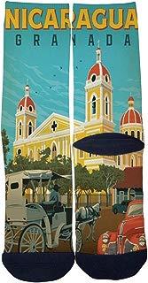 Travel poster Granada Nicaragua Socks Custom Crew Socks Men/Women Casual Cartoon Socks Creative Comfortable Socks