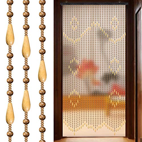 Perlenvorhänge 38 Stränge Verschlüsselung Türvorhang Holz Wohnzimmer Eingang Trennwand Hängevorhang individuelle Größe (Farbe: A, Größe: 90 cm x 180 cm), a, 90cmx180cm