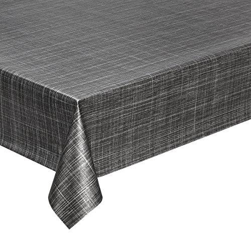 Haga-wohnideen.de - Tovaglia da 1,4 m² in tela cerata, effetto tweed antracite, in PVC, 140 cm di larghezza (al metro)