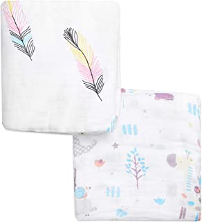 Muslin Baby Swaddle Blankets Wraps, Super Soft Touch 100% Organic Cotton Receiving Blanket for Boys and Girls, 2 Layer Muslin Blanket, 47