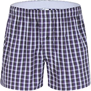 Men's Pyjama Shorts Casual 100% Cotton Plaid Lounge Wear Shorts Pajama Bottoms Half Pant Summer Boxer Briefs Sleepwear Adj...