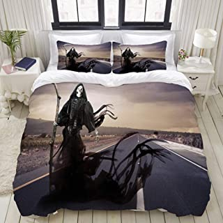 """Mokale Bedding Duvet Cover 3 Piece Set - Death Angel on a Meadow - Decorative Hotel Dorm Comforter Cover with 2 Pollow Shams - Twin 68""""x86"""""""