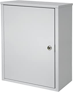 "Omnimed 291611-LG Wall Storage Cabinet with 8"" Flat Key Lock, Medium/Deep, Light Grey"