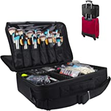 MONSTINA Cosmetic Bags 3 Layer Cosmetic Organizer Makeup Case Beauty Artist Storage Brush Box with Shoulder Strap(L-Black)