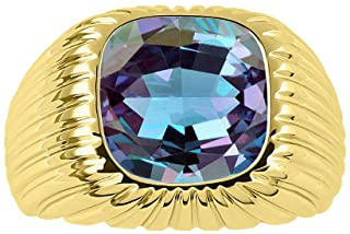 Gorgeous 12MM Simulated Alexandrite Set in Yellow Gold Plated Silver .925
