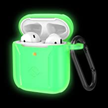 Fintie 2019 Newest AirPods Case, Premium Silicone Shockproof Protective Cover Skin [Front LED Visible] Compatible with Apple AirPods 1 and 2 Charging Case, Green-Glow in The Dark