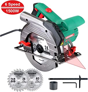 HYCHIKA Sierra Circular 1500W, 6 Velocidades Ajustables (Cortar Diferente Material), 2200-4700RPM, 2 Discos 24T+40T: 190mm, Corte 65mm (90º), 45mm (45º), Guía Laser, Motor de Cobre Puro, 3M Cable