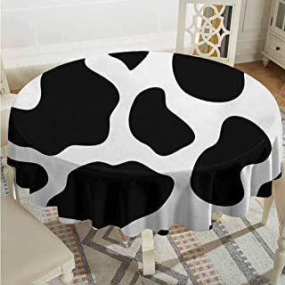 Lauren Russell Garden Round Tablecloth Cow Print Hide of a Cow with Black Spots Abstract and Plain Style Barnyard Life Print Black White Jacquard Tablecloth Diameter 54