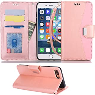 Suordii Huawei Y6 2018 Case,Folio PU Leather Flip Protective Magnetic Wallet Cover Case for Huawei Y6 2018 with Card Slot and Stand Feature (Rose Gold)
