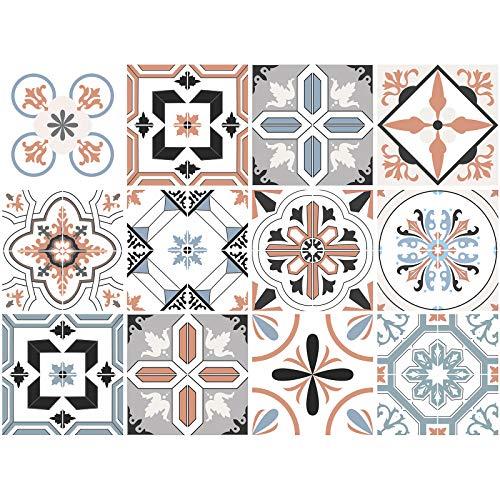 decalmile 12 Piezas Pegatinas de Azulejos 15x15cm Naranja Clásico Mosaico Adhesivo Decorativo para Azulejos Cocina Baño Decoración