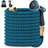 Unywarse 100ft Garden Hose Expandable Water Hose, Expanding Garden Pipe with 10 Function Zinc Nozzle, Solid Brass Fittings, Extra Strength Fabric, Lightweight Flexible Yard Hose for Watering