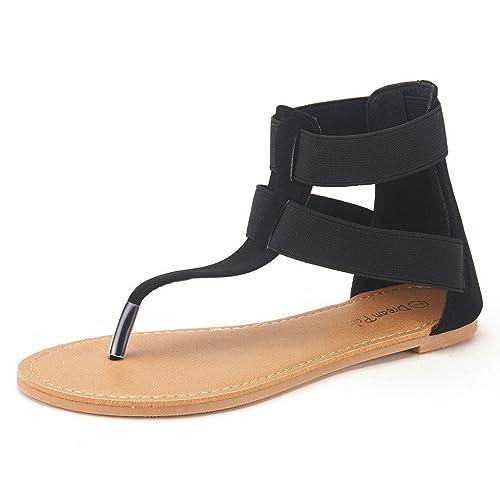 da8ed08ccf30f DREAM PAIRS Women s Elatica Elastic Ankle Strap Flat Sandals
