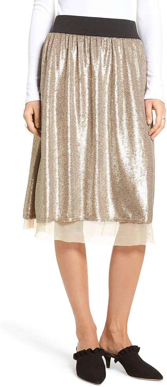 Free People Womens Sequined Midi Skirt