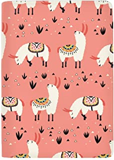 Passport Holder Case, Llamas In A Pink Desert Protective Premium Leather RFID Blocking Wallet Case for Passport