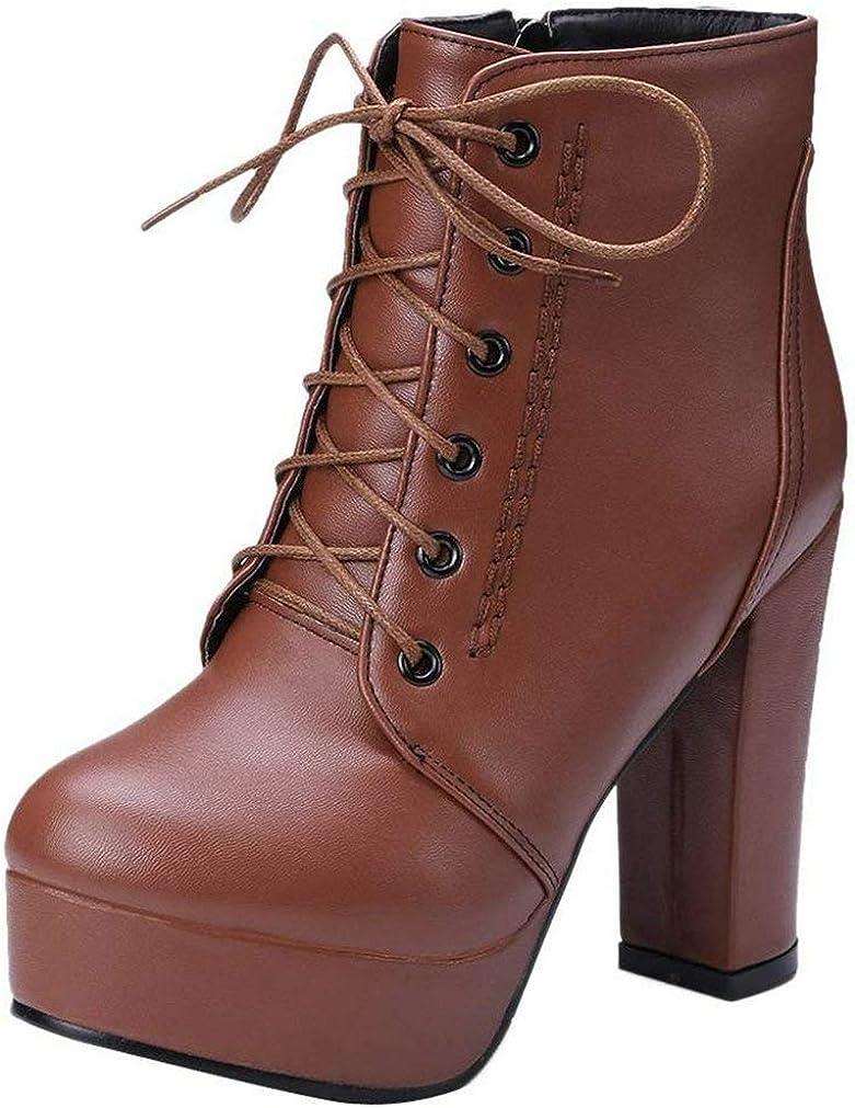 KOKOMOMO Womens Lace Up Chunky High Platform Regular discount Boots Ankle free shipping Zi Heel