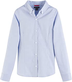 Big Long Sleeve Oxford Girls Buttondown Collar Blouse,...
