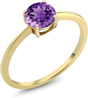 10K Yellow Gold 0.70 Ct Round Purple Amethyst Gold Solitaire Engagement Ring (Available 5,6,7,8,9)