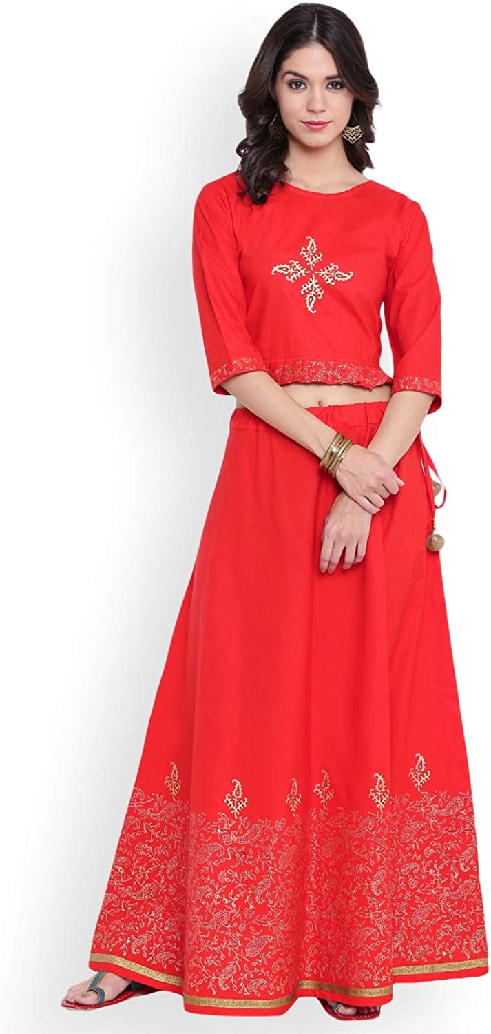 Generic WOMN Red Ready to Wear Lehenga with Blouse