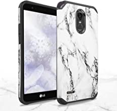 TJS LG Stylo 3 / LG Stylo 3 Plus Case, Dual Layer Hybrid Shockproof Drop Protection Impact Rugged Marble Case Armor Cover (White)