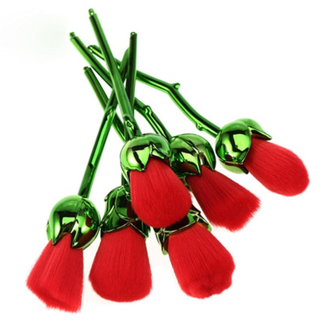 ムスタチオサラダ正しくディラビューティー(Dilla Beauty) メイクブラシ 薔薇 メイクブラシセット 人気 ファンデーションブラシ 化粧筆 可愛い 化粧ブラシ セット パウダーブラシ フェイスブラシ ローズ メイクブラシ 6本セット ケース付き (グリーン - レッド)