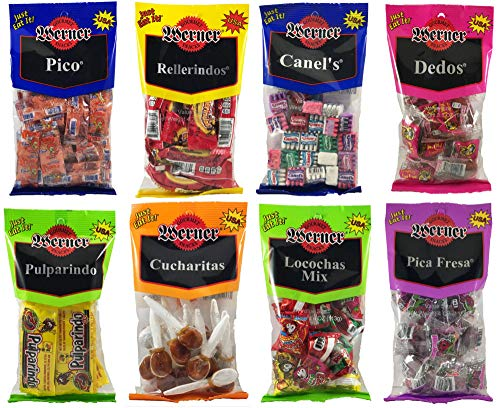 MEXICAN CANDY Variety Bundle of 8 Candies - Pico, Rellerindos, Canel's, Dedos, Pulp Candy, Cucharitas, Locochas, and Pica Fresa