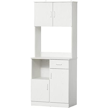 Armoire de cuisine multi-rangements 4 portes 1 tiroirs étagère + grand plateau 71 x 41 x 178 cm MDF blanc