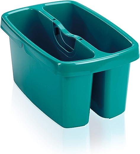 Leifheit Eimer Combi Box mit 2 Kammern für Wasser und Putzutensilien, platzsparend stapelbarer Putzeimer, Aufbewahrungsbox für Eimer Combi