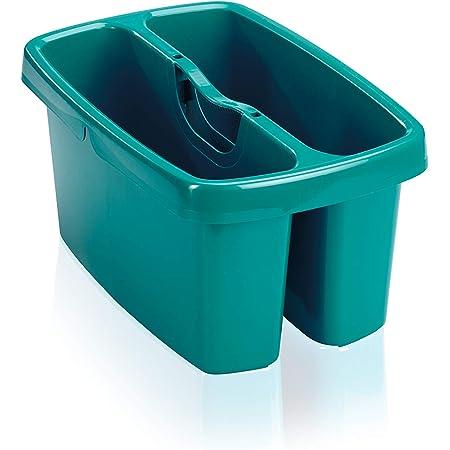 Leifheit Seau de nettoyage Combi Box, Seau rectangulaire à 2 compartiments pour l'eau et les articles ménagers, Seau empilable avec le seau Combi