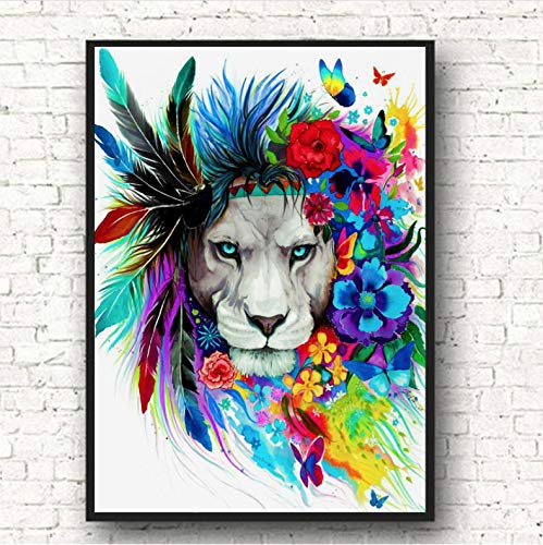 Lion Wall Art Canvas Abstract Animals Big Cat Pop Graffiti Art Paintings On The Wall Picture For Baby Room Decor A301 (50X60Cm) Frameloos