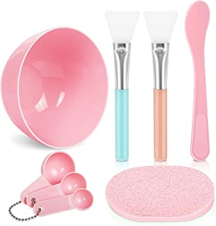 Facemask Mixing Tool Sets, Teenitor DIY Face Mask Mixing Bowl Set include Facial Mask Mixing Bowl Stick Spatula SiliconeCream Mask Brushes Gauges Puff, Pack of 8, Pink