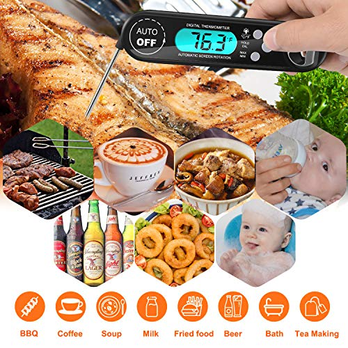 Meat Thermometer, Linko Instant Read Cooking Thermometer with IP67 Waterproof & Backlight LCD Screen, Digital Food Thermometer Perfect for Kitchen Cooking, BBQ,Sweets,Smokers,Milk