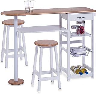 comprar comparacion Zeller 13776 - Barra para Cocina con 2 taburetes (Tablero DM, Mesa: 118 x 38 x 89 cm, taburetes: 29 x 29 x 54 cm), Color B...