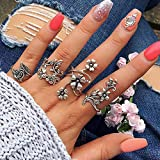 BERYUAN 4Pcs Silver Floral Rose ring Set Vintage Knuckle Ring Set Joint Knuckle Ring Set for Women and Girls teens(size 6,6.5))