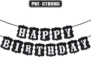 Happy Birthday White & Black Banner Birthday Party Decoration Photo Prop Sign Supplies HB.