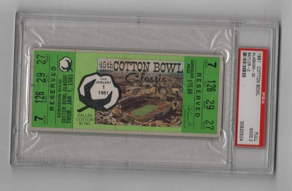 Free shipping 1981 Cotton Bowl Full Ticket Alabama Crimson Tide Bears Baylor trust v